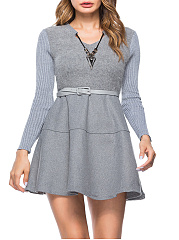 V-Neck  Patchwork  Plain  Blend Skater Dresses