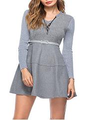 V-Neck-Patchwork-Plain-Blend-Skater-Dresses