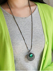 Rhinestone Green Imitated Crystal Long Necklace