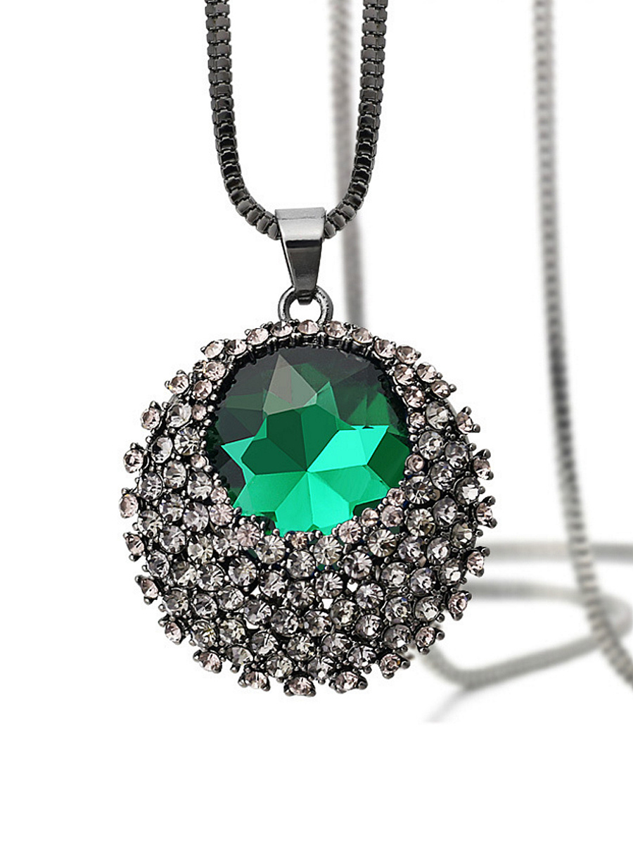 Rhinestone Green Crystal Long Necklace