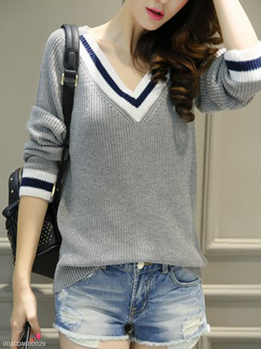 V-Neck  Contrast Piping  Plain  Long Sleeve Sweaters