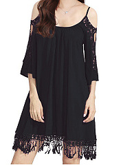 Spaghetti Strap  Decorative Lace Shift Dress
