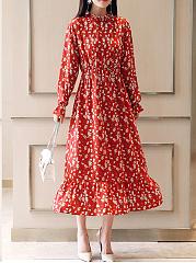 Band-Collar-Elastic-Waist-Printed-Maxi-Dress