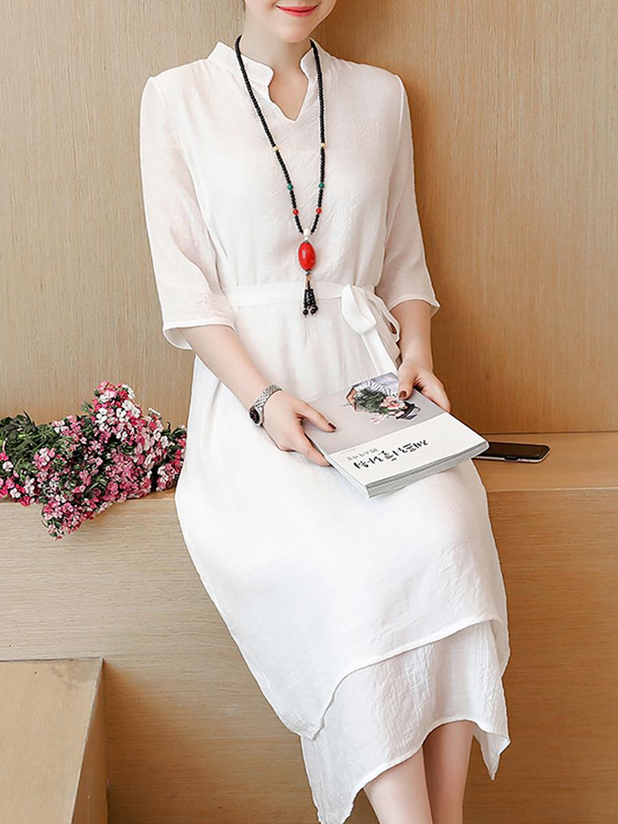 Cotton/Linen  Band Collar  Drawstring  Plain Maxi Dress