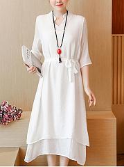 CottonLinen-Band-Collar-Drawstring-Plain-Maxi-Dress