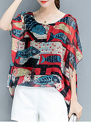 Spring-Summer-Polyester-Women-Round-Neck-Animal-Printed-Printed-Batwing-Sleeve-Short-Sleeve-Blouses
