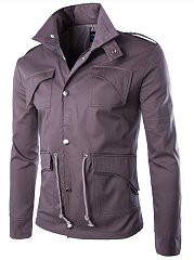 Men Lapel Flap Pocket  Plain  Drawstring Jacket