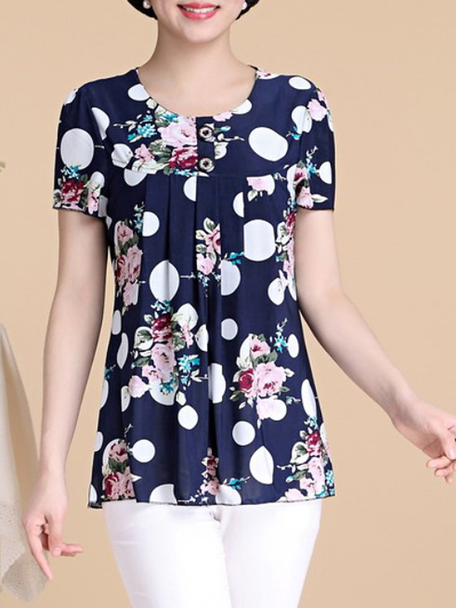 Round Neck Floral Polka Dot Printed Short Sleeve T-Shirt