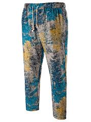 Elastic-Waist-Printed-Mens-Slim-Leg-Casual-Cropped-Pants