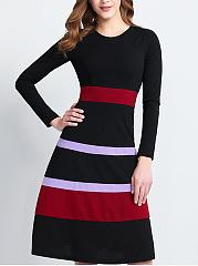 Round-Neck-Color-Block-Striped-Skater-Dress