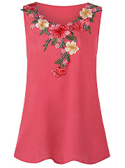 Round Neck  Ruffle Trim  Floral Printed  Sleeveless Plus Size Tops