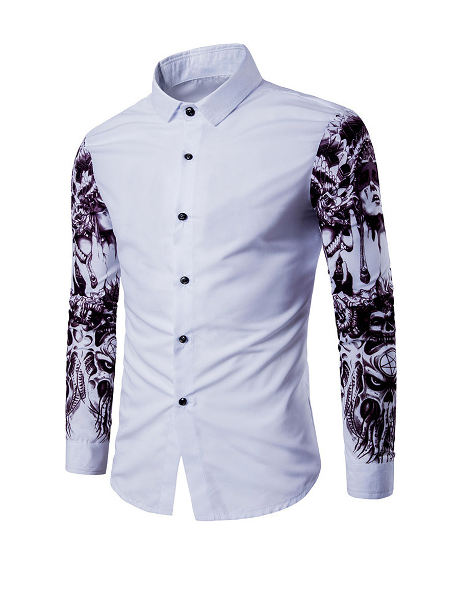 Special Trendy Printed Turn Down Collar Men Shirt