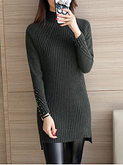 High Neck  Beading Side-Vented  Plain  Long Sleeve Sweaters Pullover