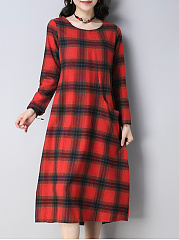 Round Neck  Plaid Shift Dress