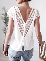 V-Neck  Decorative Lace  Plain  Sleeveless Blouse