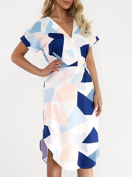 Image For Henley Collar  Geometric Bodycon Dress