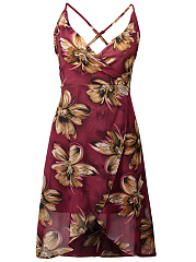 Spaghetti-Strap-Asymmetric-Hem-Printed-Polyester-Skater-Dress