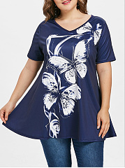 V-Neck  Asymmetric Hem  Floral  Short Sleeve Plus Size T Shirt