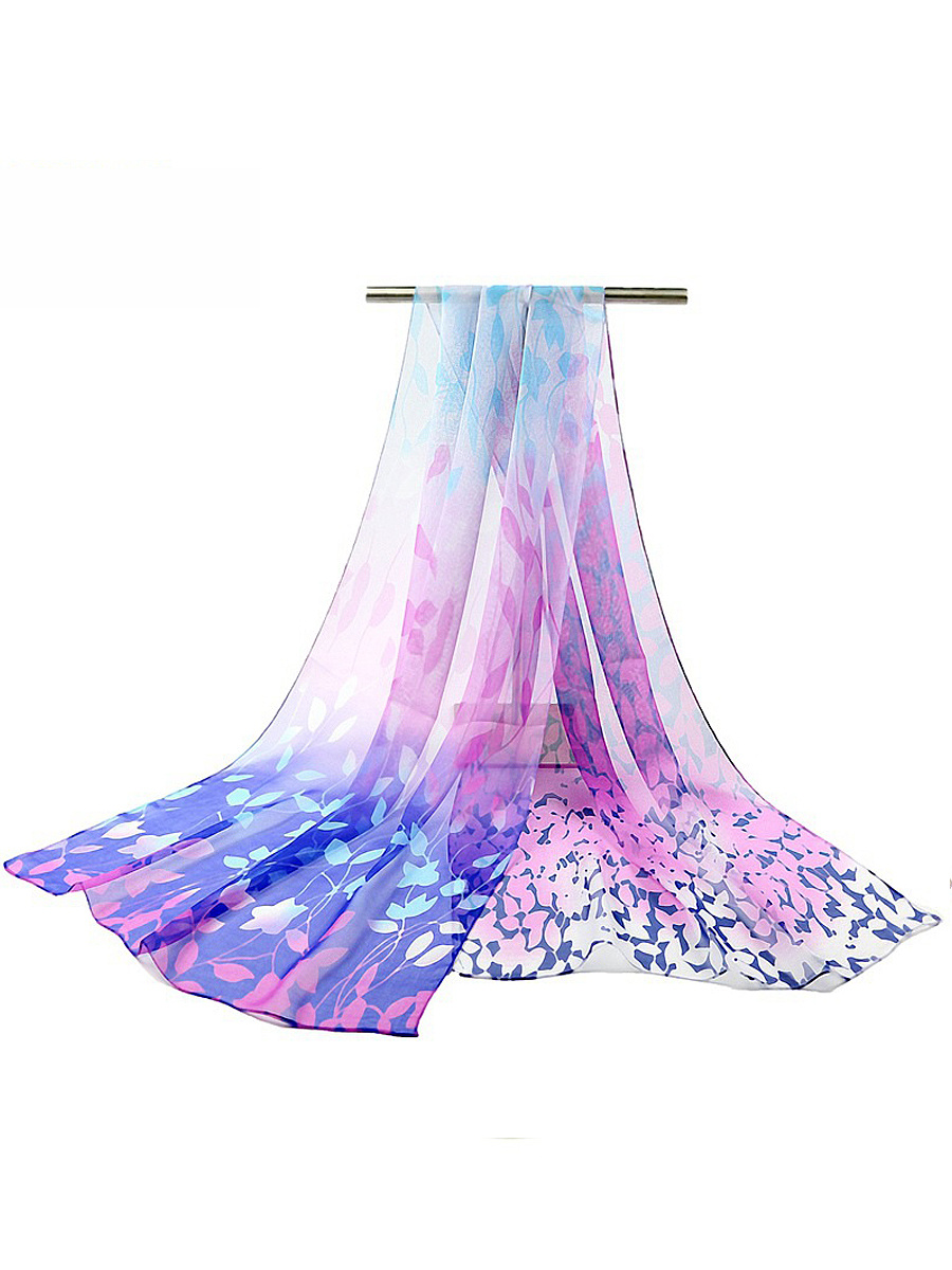 Leaf Printed Chiffon Long Scarf