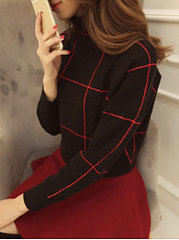 High Neck  Plaid  Long Sleeve Pullover