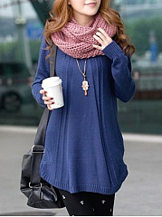 Loose Round Neck Embossed Plain Sweater