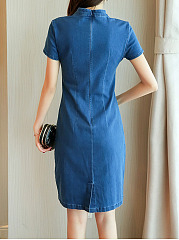 Band Collar Keyhole Embroidery Light Wash Denim Bodycon Dress
