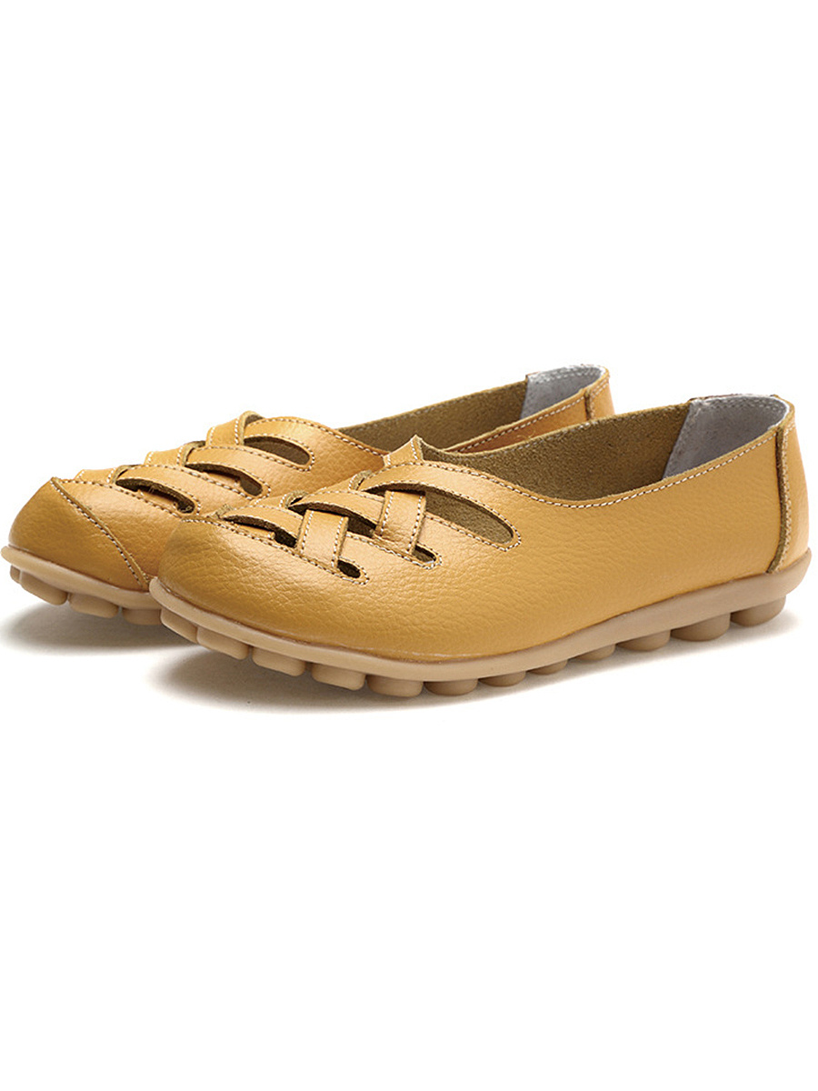 Hollow Out Soft Sole Solid Loafers