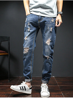 Distressed Light Wash Slim-Leg Mens Jeans