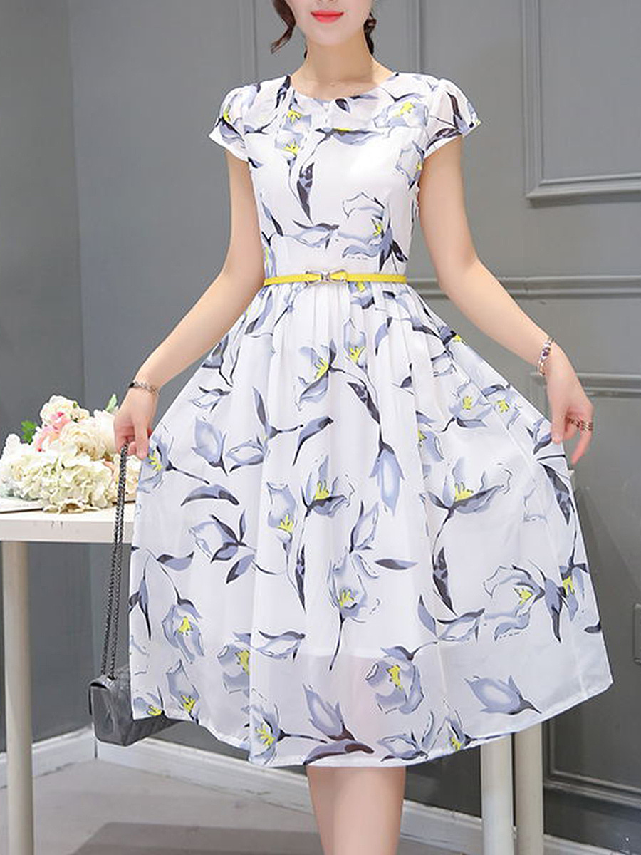 Chic Floral Printed Midi Round Neck Skater Dress