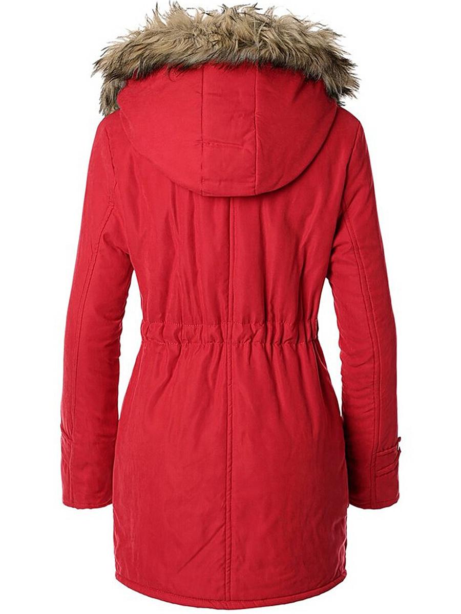 Hooded Drawstring Patch Pocket Coat