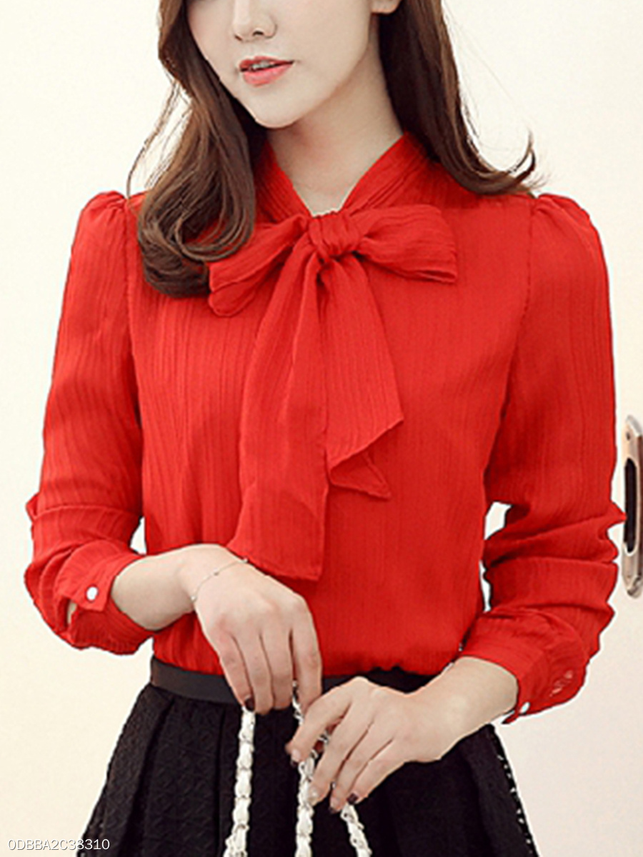 Tie Collar Chiffon Plain Long Sleeve T-Shirt