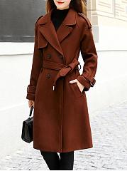 Lapel-Double-Breasted-Longline-Belt-Plain-Woolen-Coat