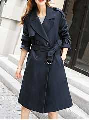 Lapel Double Breasted Longline Belt Plain Woolen Coat