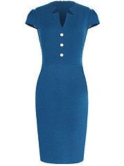 Asymmetric-Neck-Plain-Blend-Bodycon-Dress