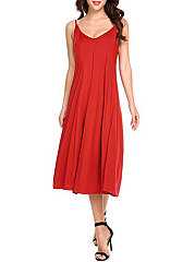 Spaghetti Strap Plain Midi Skater Dress