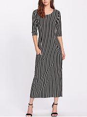 Round-Neck-Plain-Polyamide-Maxi-Dress