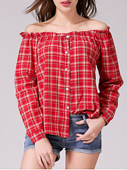 Boat-Neck-Single-Breasted-Plaid-Long-Sleeve-Blouses