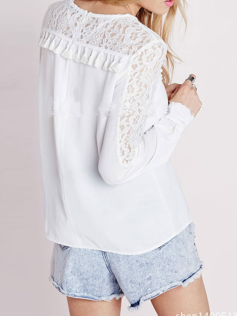 Autumn Spring  Lace  Women  Round Neck  Decorative Lace Patchwork  Hollow Out  Long Sleeve Blouses