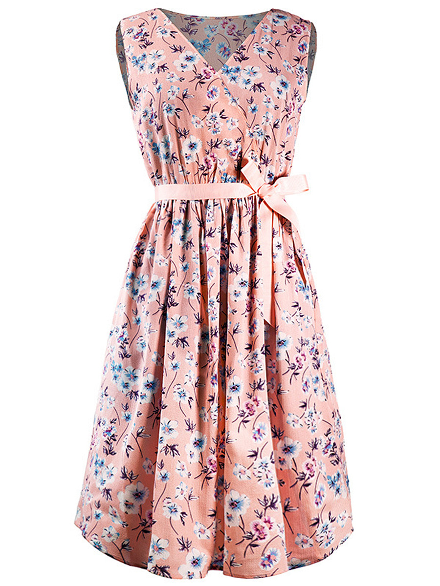 Cute V-Neck  Bowknot  Floral Printed Skater Dress