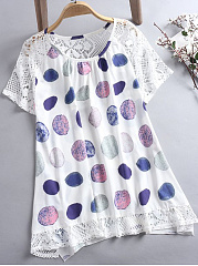 Summer  Women  Round Neck  Decorative Lace  Polka Dot  Short Sleeve Blouses