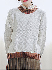 Round-Neck-Patchwork-Plain-Long-Sleeve-Pullover