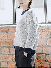 Round Neck  Patchwork  Plain  Long Sleeve Pullover