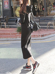 Drawstring Kangaroo Pocket  Plain Maxi Dress