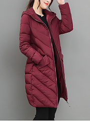 Hooded Longline Flap Pocket Quilted Plain Padded Coat