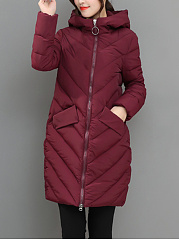 Hooded-Longline-Flap-Pocket-Quilted-Plain-Padded-Coat