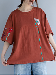Round Neck  Embroidered  Embroidery Short Sleeve T-Shirts
