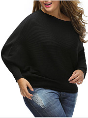 Hot-One-Shoulder-Plain-Batwing-Sleeve-Plus-Size-Sweater
