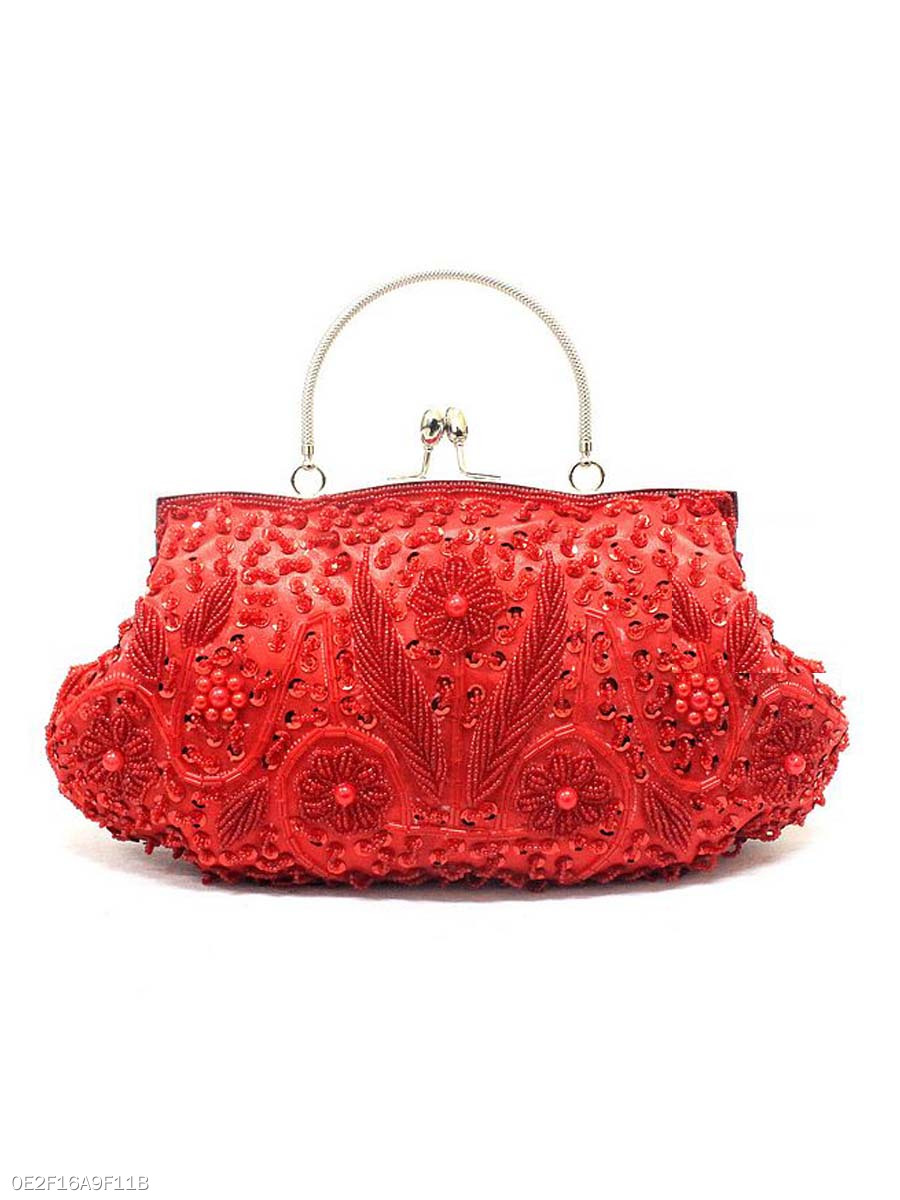 Red Floral Beading Clutch Bag