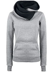 Cowl Neck Kangaroo Pocket Color Block Hoodie