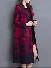 Lapel-Abstract-Print-Belt-Patch-Pocket-Longline-Woolen-Coat